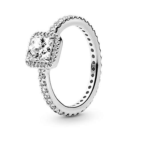 PANDORA - Square Sparkle Halo Ring in Sterling Silver with Clear Cubic Zirconia, Size 7.5 US / 56 Euro
