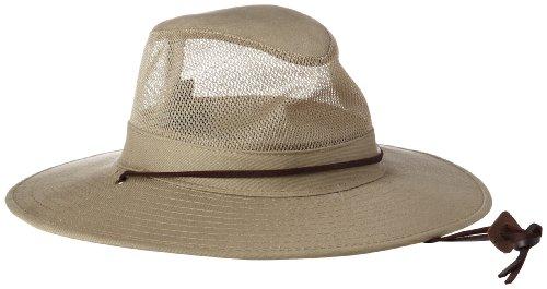 Dorfman Pacific Men's Twill Mesh Ventilation Sun Protection Safari Hat With Genuine Leather Trim, Khaki, XX-Large, 13