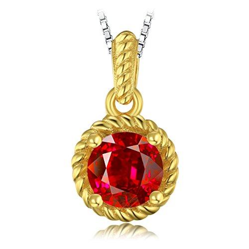 JewelryPalace Fashion 1ct Erstellt Ruby Solitaire Anhänger Halskette 925 Sterling Silber 45 Cm