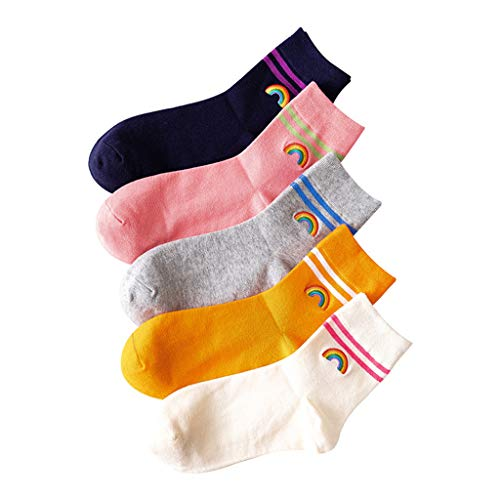 ECMQS - 5 pares de calcetines de algodón para mujer, diseño de doble rayas, puente arcoíris, bordado
