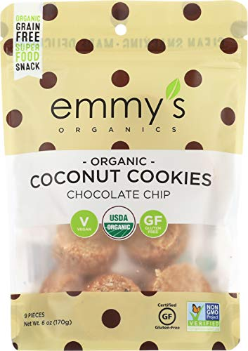 Emmy's Organics, Coconut Cookies - Chocolate Chip, 6 oz (Pack of 8)
