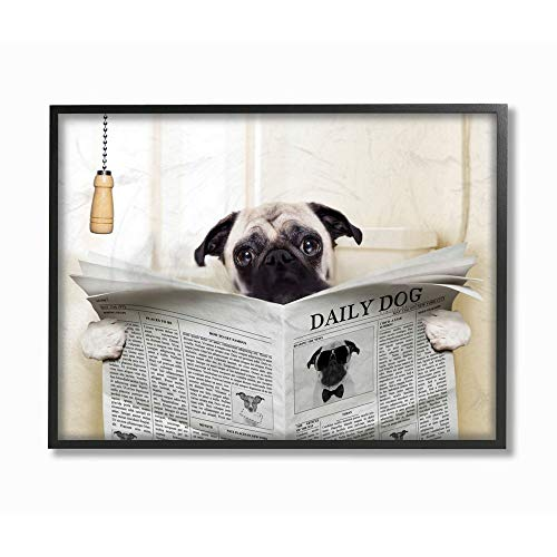 Stupell Industries Pug Reading Newspaper in Bathroom Oversized Framed Giclee Texturized Art, 16 x 1.5 x 20, Proudly Made in USA