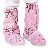 Zilee Cubrezapatillas Impermeable Botas de Agua - Niños Cubiertas de Zapatos Antideslizante Lluvia Botas Reutilizables Calzado Fundas de Lluvia para Zapatos Niñas
