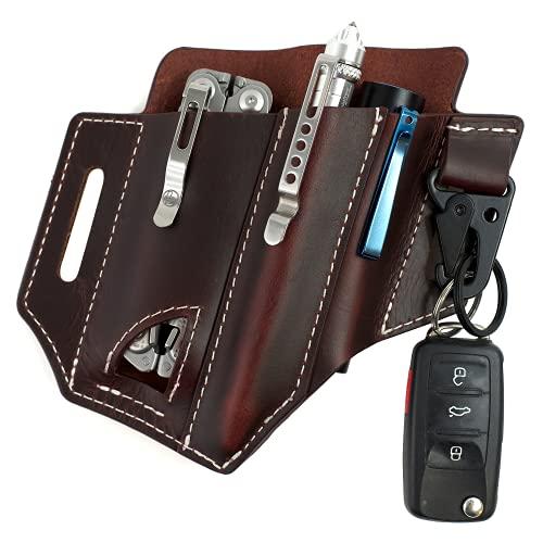 Atqana Multitool Sheath for Belt (Premium Leather) - EDC Pocket Organizer   Leatherman Holster   Handmade Leather Multitool Pouch with Pen Holder, Flashlight Sheath and Key Fob Clip (Extra Dark Brown)