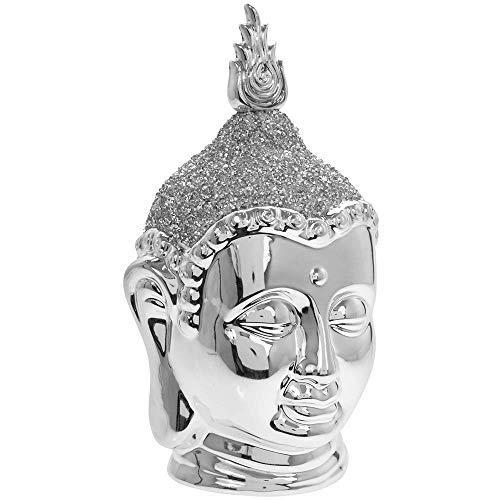 Lesser & Pavey Large Silver Sparkle Thai Buddha Head Decorative Ornament