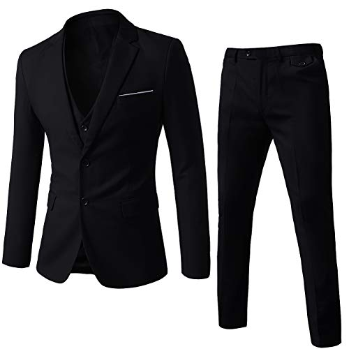 WEEN CHARM Mens Suits 2 Button Slim Fit 3 Pieces Suit Set Black