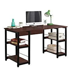 【24-Hour Immediate reply】: If there are any problems about the product, please contact us directly, we will reply and offer a solution in 24 hours. 【Open Shelf Design】With a 2-layer open shelf on each side of the desk, you can place accessories like ...