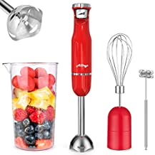 ALLKEYS 500W Immersion Hand Blender,3-in-1 Stainless Steel Stick Blender(Titanium Reinforced), Smart Stepless Speed, Includes 600ml Mixing Beaker / Whisk Attachment /Milk Frother, BPA-Free, Detachable
