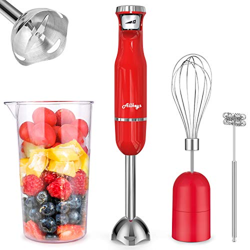 ALLKEYS 500W Immersion Hand Blender,3-in-1 Stainless Steel Stick Blender(Titanium Reinforced), Smart Stepless Speed, Includes 600ml Mixing Beaker / Whisk Attachment /Milk Frother, BPA-Free