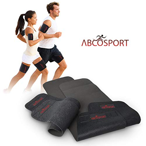 Body Wraps for Arms and Thighs - To Lose Fat and Reduce Cellulite - Best Adjustable Slimmers with Anti-Slip Grid Technology - Use Home or Street - Repels Sweat - 4 Piece Kit (4 Piece Set - Large)
