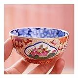 QinMei Zhou - Taza de té esmaltada con filigrana de cerámica pintada en color azul y blanco, cerámica, 51-100ML