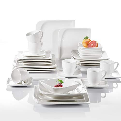 vancasso, Service de Table en Porcelaine Blanche, Assiette Plate, Assiette Creuse (Cloris, 36 Pcs Complet)