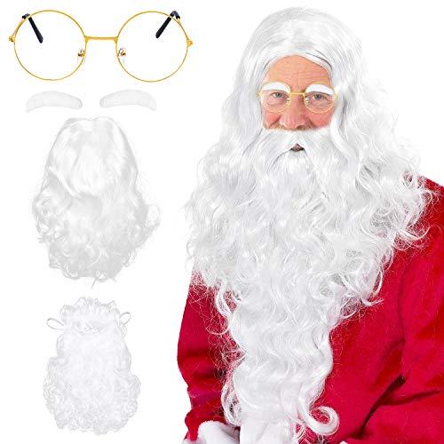 Beelittle Weihnachtsmann Kostümzubehör Set - Santa Perücke Bart Set und Brille Fancy Dress up für Weihnachten (Weiß-B)