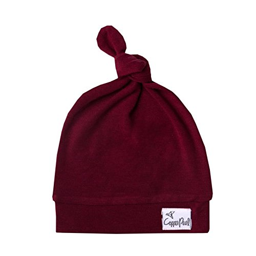 """Baby Beanie Hat Top Knot Stretchy Soft """"Ruby' by Copper Pearl"""