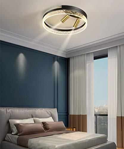 Lámpara de techo LED Iluminación de techo de Dormitorio Moderna Regulable, Efecto de luz de Pantalla de Acrílico, con 2 Focos Luz de Techo Negro de 30W, Lámpara de dormitorio de hierro Ø 40cm