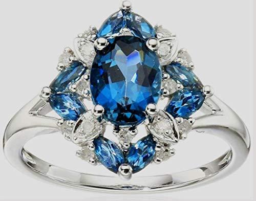 YunBest - Anillo de compromiso de boda con piedras preciosas naturales antiguas de 2,36 quilates con diamantes de morganita 8 azul
