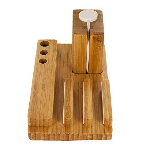 Organizador de escritorio de madera, 3 en 1 de bambú para estaciones de carga para teléfonos, bolígrafo, reloj