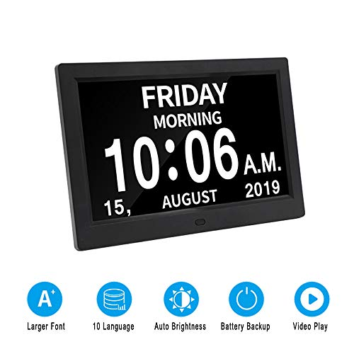 9 Inch Digital Calendar Day Clock Photo Frame- Auto Dimmable Display 12 Alarm Options,Extra Large Impaired Vision Digital Clock with Non-Abbreviated Day & Month Alarm Clock (Black)