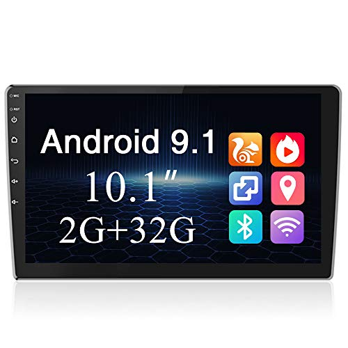 Radio Coche 2G + 32G 10.1 Pulgadas Pantalla táctil Podofo 2 DIN Android GPS Estéreo Bluetooth WiFi FM Mirror Link Radio USB Dual para automóvil + Cámara de Marcha atrás