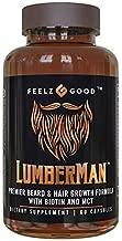 Lumberman Premier Beard & Hair Growth Vitamin Formula - Stronger Healthier Hair. Hair Growth Supplement w/Biotin, MCT, Vitamin D3 & B5 Folate & More - Supplement for All Hair Types - Feelz Good