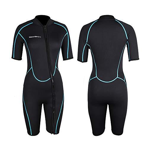 Womens 3mm Shorty Wetsuit, Premium Neoprene Front Zip Short Sleeve Scuba Diving Wetsuit Snorkeling Surfing (Women Black, L)