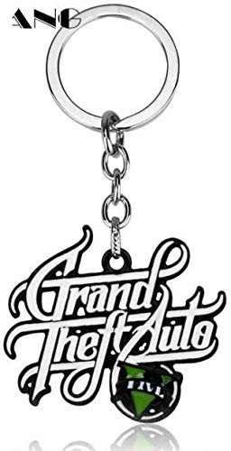 Liz Collection Inspired by Game PS4 GTA V Grand Keychain Theft Auto 5 Keychain PC Rockstar Keyring for Men Boys Gift Jewelry Llavero for Fans (3)