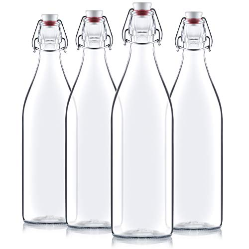 Clear Glass Bottle With Stopper [Set of 4]  33 3/4 oz