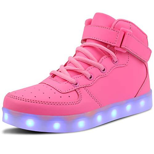 WONZOM Scarpe luminose a LED Zapatillas de Deporte Intermitentes USB para Botas Toler/Kids-26(Pink)