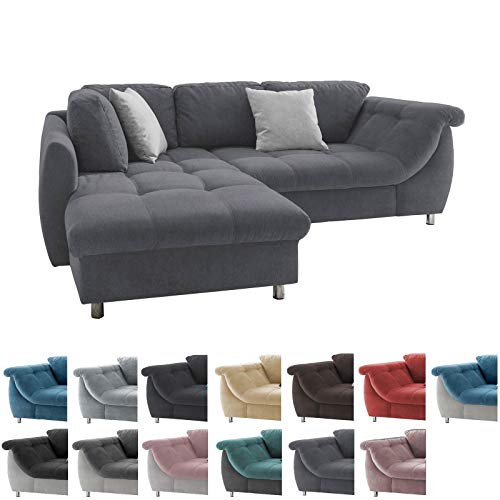 lifestyle4living Ecksofa mit Schlaffunktion | Eckcouch Eckgarnitur Polsterecke L Couch Sofa L Form | Wohnlandschaft inkl. Rückenkissen und Zierkissen | Stoff Anthrazit