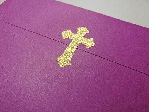 20 Glitter Cross Stickers baptism Décor Envelope Seals Christian Gold or Silver Vinyl Craft DIY Small 2'' tall