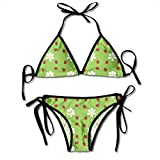 Bikini para Mujer Set Ladybug Flower Traje de Baño de Dos Piezas con Trajes de Baño de Cabestro con Vendaje