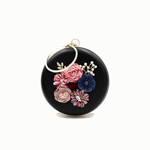 Ai-yixi Diseño Ligero y Elegante Damas de Moda Flor círculo Mini Cadena portátil Bolsa Bolsa Cena Bolsa Pop Salvaje (Color : Black, Size : 18 * 6)