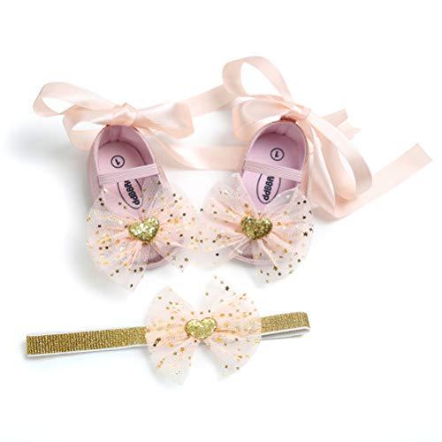 EDOTON Baby Mädchen Schuhe Haarband Set Bowknot Kleinkind Anti-Rutsch-Weiche Lauflernschuhe Besondere Anlässe Taufe Hochzeit Party Schuhe Sneaker (0-6 Monate, Rosa)