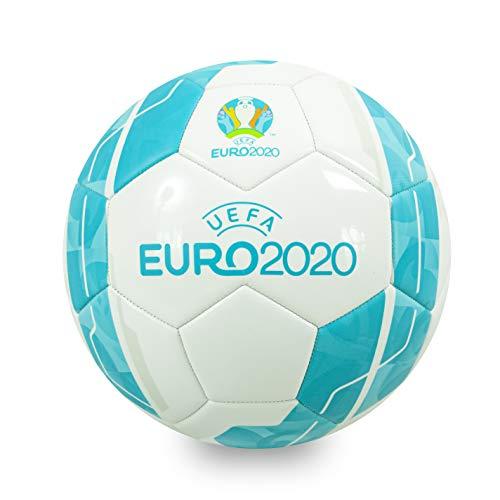 Euro 2020, Calcio Unisex-Adult, White/Turquoise, Taglia 5