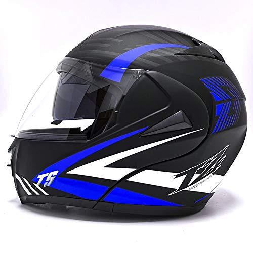 TRIPERSON Full Face Flip up Modular Motorcycle Helmet Dual Visor Motocross Helmet DOT Approved (Blue White TW, Small)