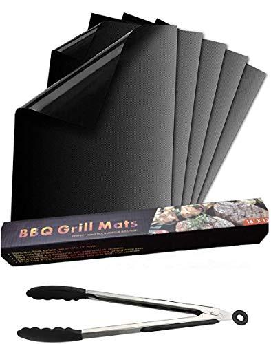 Nifogo BBQ Grillmatte, 5er Set Antihaft Grillmatten und Wiederverwendbar Backmatte, Leicht zu Reinigen und Langlebig, Grillmatten für Holzkohle, Gasgrill und Clip+Backofen