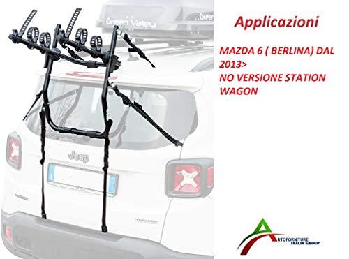Portabicicletas montado y listo para su uso (3 bicicletas) para puerta o maletero trasero para coche específico para Mazda 6 Berlina (no Station Wagon) desde 2013