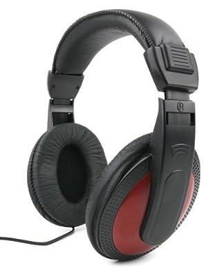 DURAGADGET Premium Passive Noise-Cancelling Comfortable Black/Red Stereo Over-Ear Headphones - Compatible with MSI GE72MVR 7RG-069DE Apache Pro & GV62 7RE 2275DE
