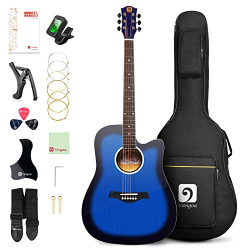 Vangoa Acoustic Guitar 41 inch, Full Size Cutaway Acoustic Guitar Kit with Padded Case, Tuner, Strap, Picks, Capo, Extra Strings for Beginners, Blue