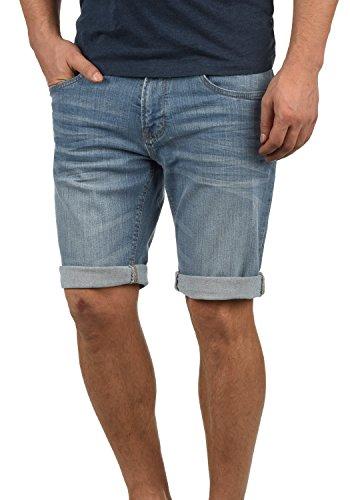 Indicode Quentin Herren Jeans-Shorts Kurze Hose Denim aus hochwertiger Baumwollmischung Stretch, Größe:L, Farbe:Blue Wash (1014)