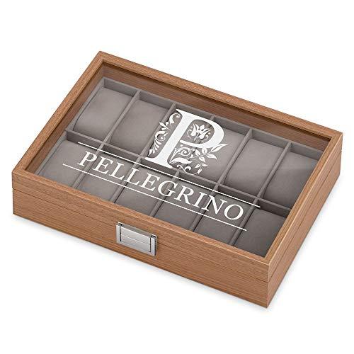 MURRANO Cofanetto Porta Orologi con 12 scomparti - Custodia orologi in legno - Coperchio in vetro - Fodera in velluto grigio - incisione personalizzata - regalo uomo - Cognome