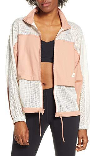 Nike Damen W NSW JKT Mesh Jacket, Roségold/Blasses Elfenbeinweiß/Blasses Elfenbeinweiß, L