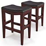 """Furgle Set of 2 Saddle Seat Stools 29"""" Barstool Wood Vintage Counter Chairs Backless Faux Leather Counter Stool for Kitchen Dining Pub and Bistro Brown"""