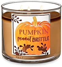 Bath and Body Works White Barn Pumpkin Peanut Brittle 3 Wick Candle 14.5 Ounce