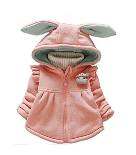 Sevenelks Baby Mädchen Kinder Mantel Winter Jacke Kapuze mit Ohren Neugeborene 0-3 Jahre Rosa - 56 62