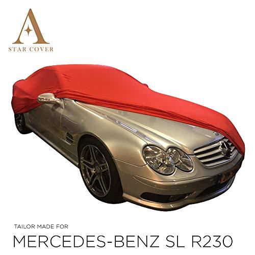 AUTOABDECKUNG ROT PASSEND FÜR Mercedes-Benz SL-Class R230 MIT SPIEGELTASCHEN INNEN SCHUTZHÜLLE ABDECKPLANE SCHUTZDECKE VOLLGARAGE Cover