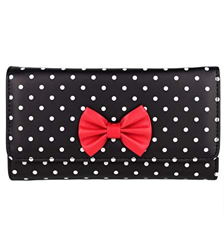 Schompi Retro Damen XXL Geldbörse mit Polka Dots Muster und Schleife, Kunstleder Portemonnaie mit Punkten, Farbe:Schwarz
