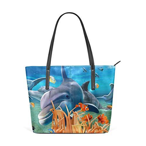 XGBags Custom Borsa a tracolla in pelle PU da donna Amazing Sea Underwater World Womens Purse PU Leather Shoulder Tote Bag