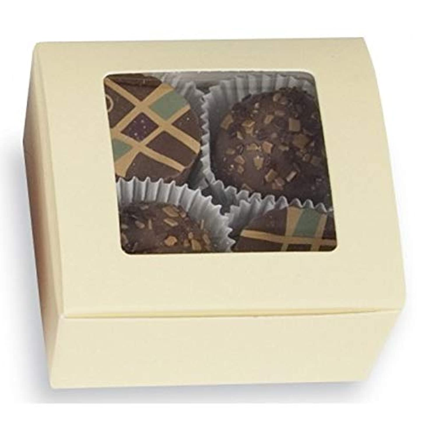 Cream Square 4 pc. Truffle Boxes with Window - 2 5/8 x 2 1/2 x1 1/4in. (25)