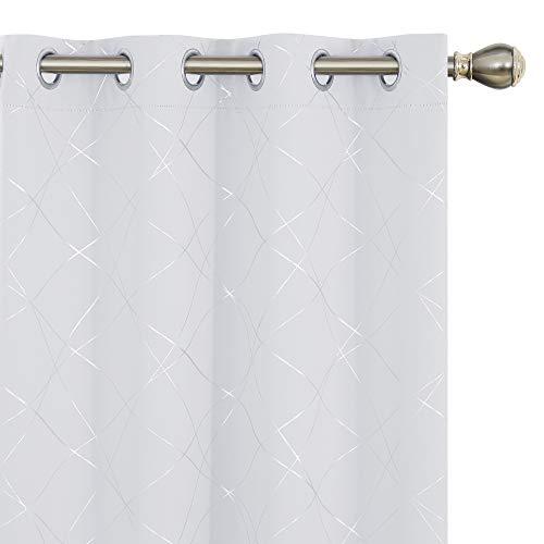 Amazon Brand – Umi Cortinas Dormitorio Moderno Opacas para Ventanas de Habitación Juvenil con Ollados 2 Piezas 140x183cm Gris Blanco
